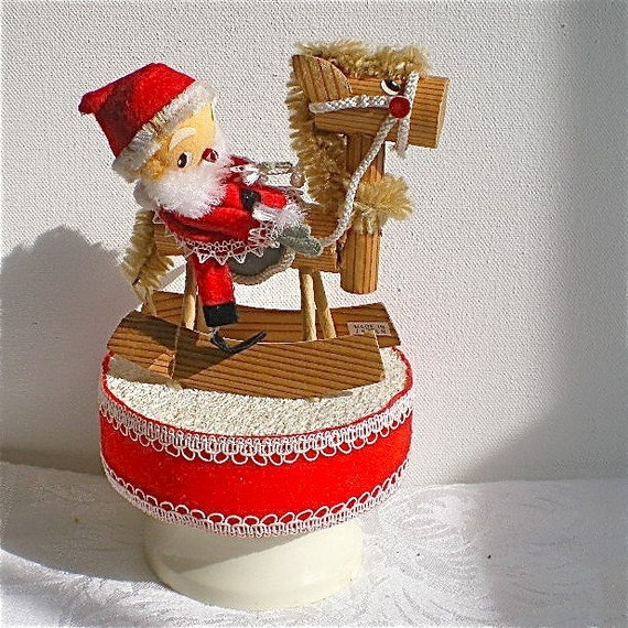 Lot Of 5 Vintage Christmas Decorations Kitsch Santa Claus: Christmas Santa Vintage Santa Decoration Rocking Horse