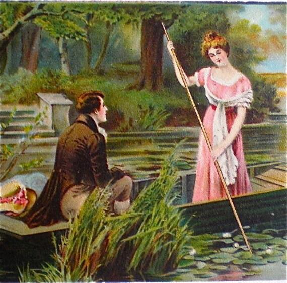 Vintage Postcard , Romantic, Victorian, Man and Woman, Vintage, Boating, Pink Dress