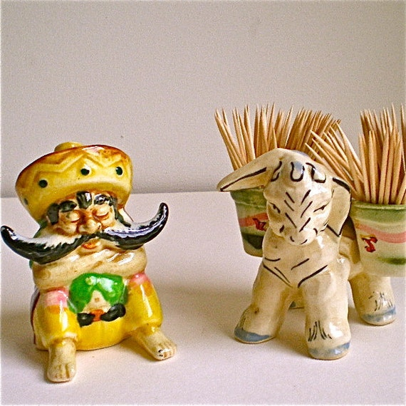 Cowboy, Donkey, Mustache , Vintage ,Toothpick holder, Mexican, Man, Retro, Kitch, Siesta Time, Toothpick Holder,Ceramic, Fun, 2 pieces