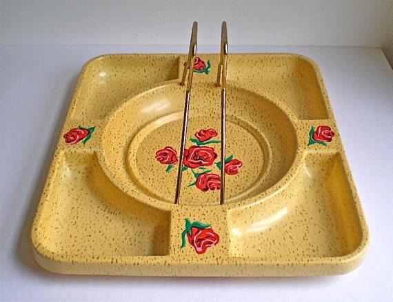Mid Century Tray, Vintage Tray, Yellow, Roses, Party, Handled, Barware, Retro, 1960s