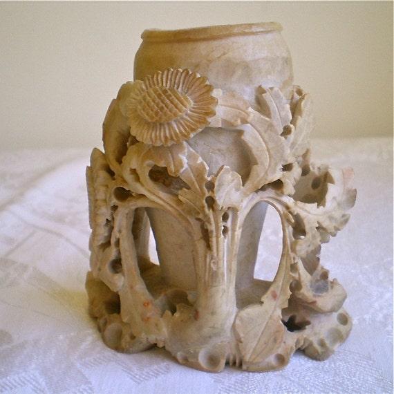 "Asian Soapstone, Vintage, Vase, Carved, Flowers, Lovely, 1930s, 4 1/4"" tall  x 4 1/4 long, 1 vase"