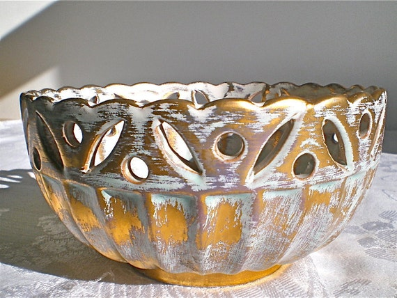 Vintage Bowl, Stangl, Hollywood Regency, Gold, Bowl, Vintage, Vintage, 1950's, 1960's