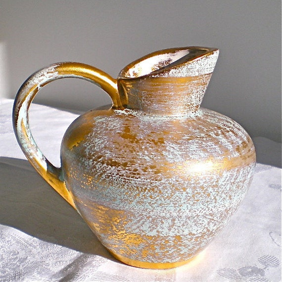 Stangl, Pottery, Vase, Gold, Aqua, Vintage, Home Decor, 1950's, 1960's