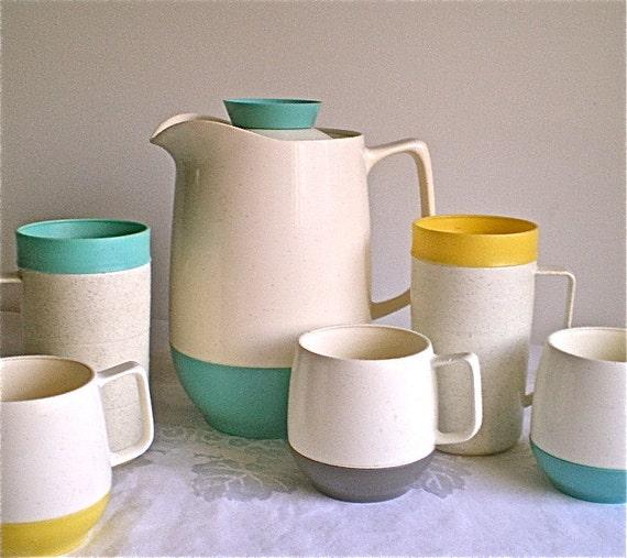 Pitcher, Cups, Thermal, Home decor, Vintage, Picnic , Retro, Aqua, Coffee, Cups, Plastic, Cornish Thermoware, 1 pitcher, 5 cups