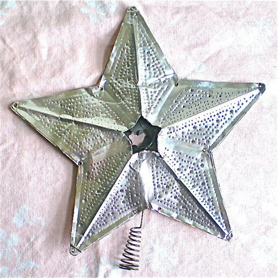 "Christmas, Vintage Decorations, Star, Silver Star, Home Decor,Tree Topper, Retro, Aluminum Tin, 1940's, Large, 9 1/2"", New Price"