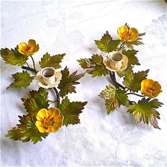 Vintage, Italian, Tole, Candle holders, Flowers, Candle Sticks, Yellow, green, White, Home Decor, Vintage , Flowers, Shabby Chic , Set of 2