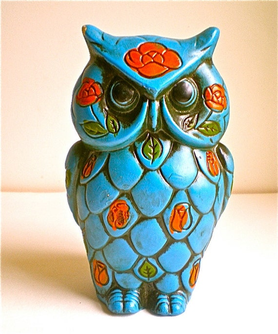 Vintage Owls, Bank, Blue, Groovy, Retro, 1960s, Fun, Paper Mache, retro, Listing for 1 owl