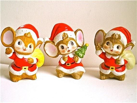 Christmas, Mice, Decorations, Vintage Mice, Santa Mice, SALE, Elves,  Home Decor, Porcelain,Was 14 now 10