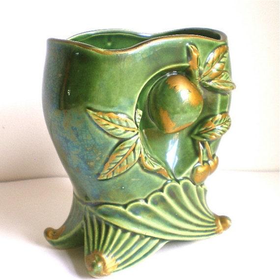 Green Vase, Vintage Vase, Fruit, Peaches, Cherries, Art Pottery, Home Decor, Gold, High Relief, Ceramics, 1940's, SALE