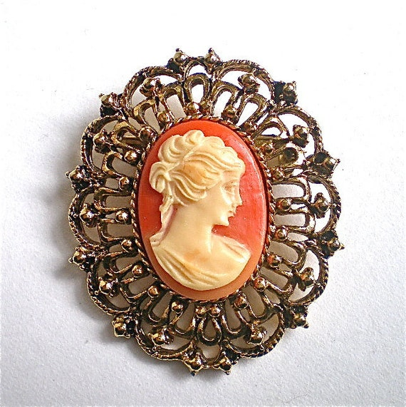 "Cameo Brooch, 1970's, Vintage Jewelry, Vintage Pin, High Fashion, Large, 1 1/2"" x 1 7/8"""