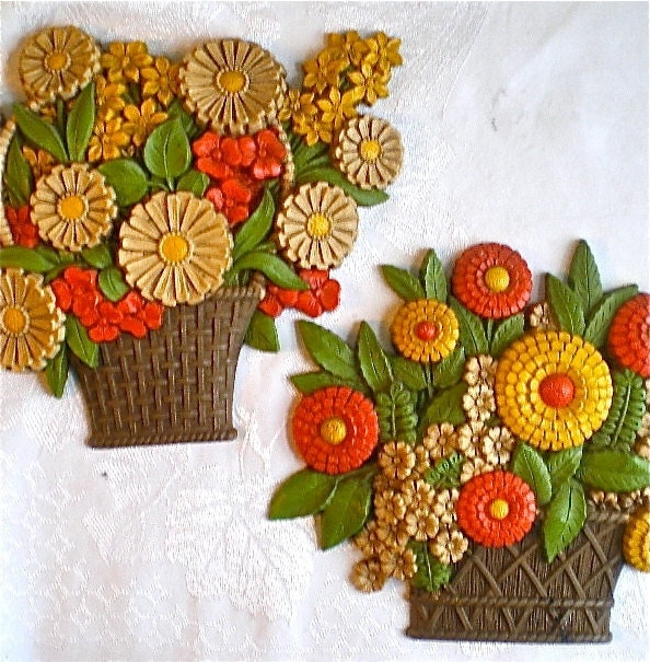 Range Flower Baskets : Vintage flowers flower baskets orange yellow home decor