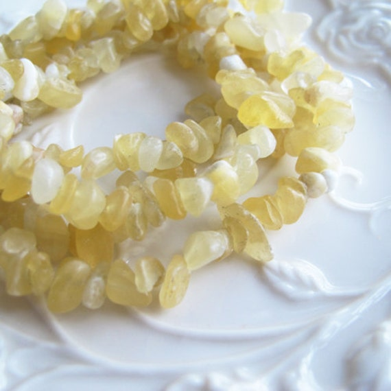 "Topaz Chips , yellow jade chips, 33"" Strand Yellow Natural Topaz Chips Beads gemstone"
