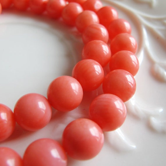 Bamboo coral beads, pink coral, 8mm round shape, 16 inch strand, necklace making supplies