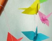 Rainbow Origami Crane Mobile