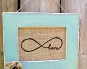 Distressed Frame Mint Green with 5x7 Burlap Print Infinite love symbol