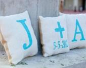 Burlap Wedding Pillows Front and Back Design