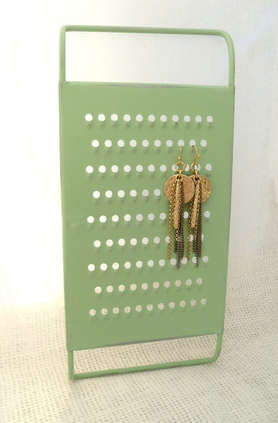 Jewelry, Earring Holder, Hand Painted Mint Green, Vintage Grater