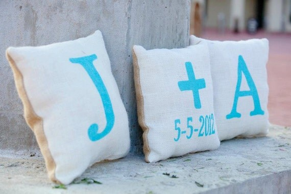 Burlap Wedding Pillows Front and Back Design