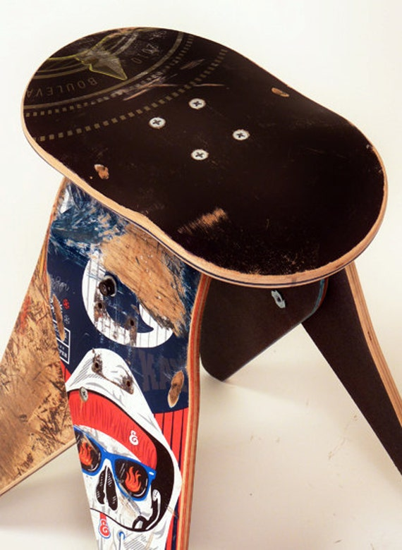 No.287- Recycled skateboard stool