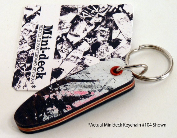 """Recycled Skateboard Keychain No.104 - Old School """"Pig"""" Shape"""