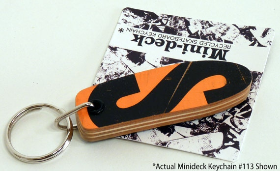 """Recycled Skateboard Keychain No.113 - Old School """"Pig"""" shape"""