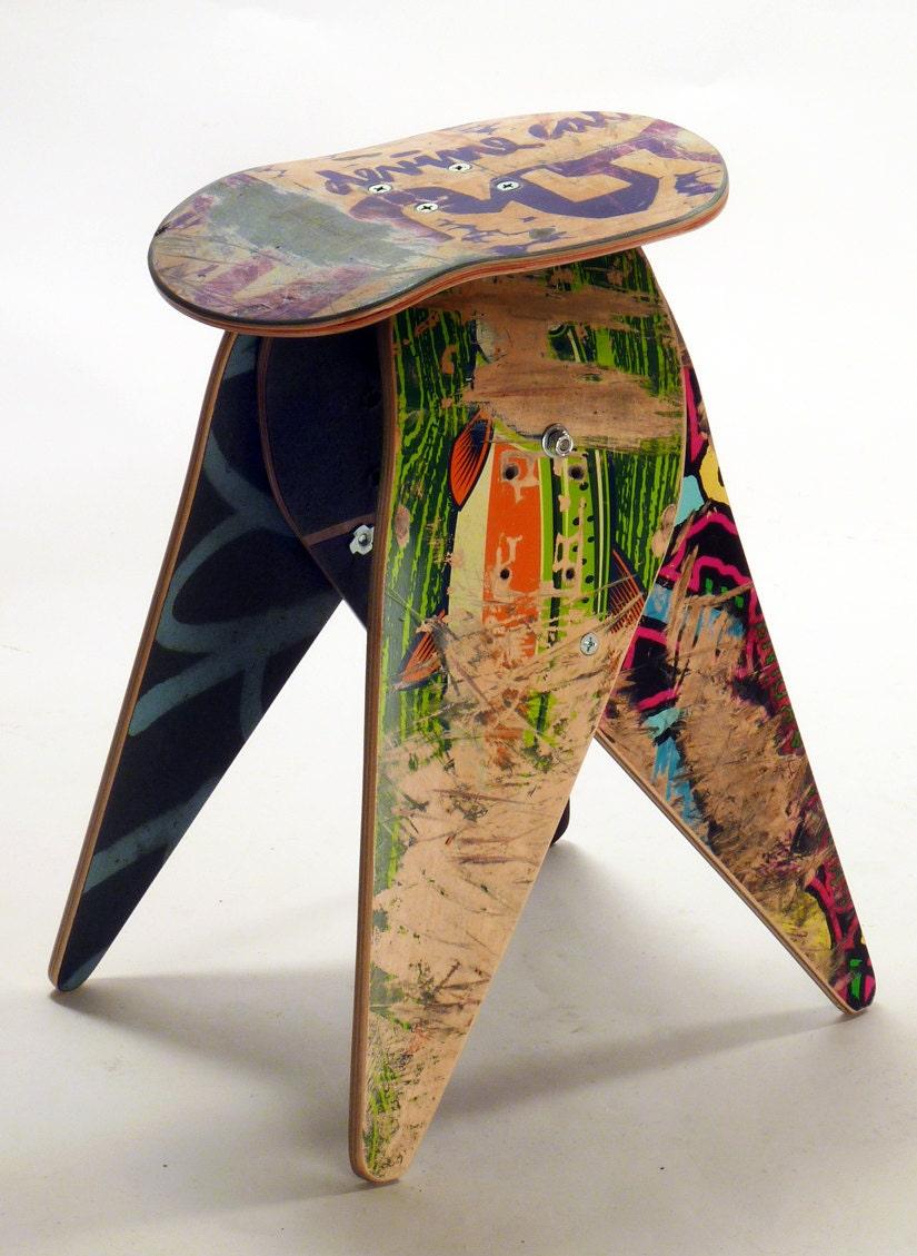 new recycled skateboard stool 204