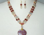 Semiprecious Heart Pendant Necklace And Earring Set, Blood Agate, White Jade, Red Banded Carnelian, Sun Sitara, Double Strand