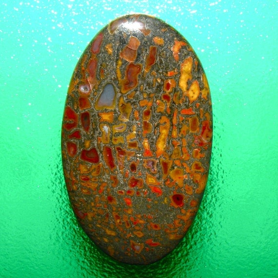 Dinosaur Bone Red and Yellow Color 100% Natural Hand Cut Cabochon from Utah, free shipping
