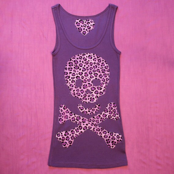 Purple and Leopard, Skull and Crossbones, Size S, Girl/Woman Pirate Tank Top. FREE SHIPPING in USA