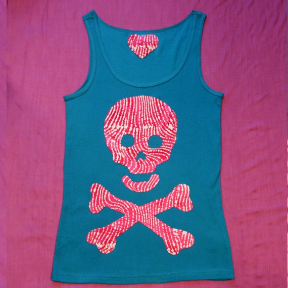 Skull Teal and hot pink Zebra, Woman Pirate Tank Top, Size XL. Unique. FREE Shipping in USA