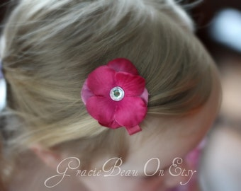 Fuchsia Flower Hair Clip With Jeweled Center