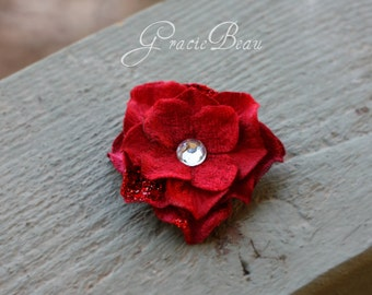 Red Hair Clip Hydrangea With Jeweled Center And Glitter Accents