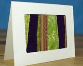 Purple and Green Stripe Handmade Fabric Greeting Card