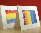 Double Rainbow - Set of two Rainbow Patchwork Greeting Cards