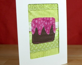 Handmade Birthday Card - Happy Birthday - Fabric Card - Quilted Greeting Card
