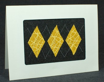 Fall Fabric Card - Yellow and Charcoal Gray Argyle Handmade Quilted Card