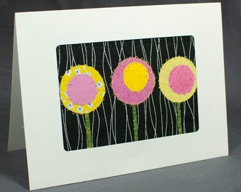 Modern Quilt Greeting Card - Patchwork Greeting Card - Pink and Yellow Flowers
