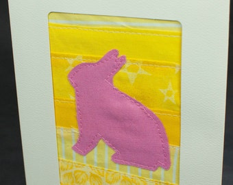 Bunny Card - Baby - First Birthday - Nursery Decor - Fabric Card - Quilt Card - Pink and Yellow - Bunny Rabbit