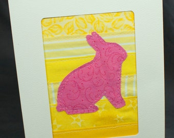 Easter Card - Easter Bunny Card - Spring Greeting Card - Fabric Card - Quilt Card - Pink and Yellow - Bunny Rabbit