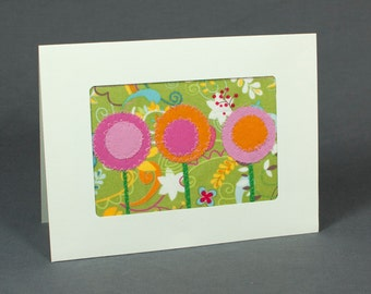 Spring Flowers - Handmade Greeting Card - Quilt Card - Blank Greeting Card - Pink and Orange Flowers - Green - Fabric Card