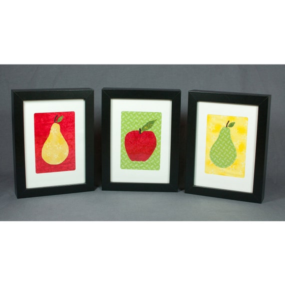 Fruit Greeting Cards - Set of 3 - Kitchen Decor - Apples and Pears - Red, Yellow, and Green - Fabric Greeting Cards