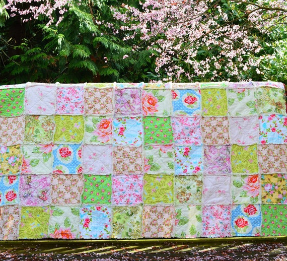 Magic of Spring Rag Quilt, Twin Size, Reserved for Tracy