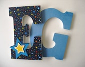 Star Custom Decorated Wooden Letters, Nursery Alphabet Name Décor, Unisex Bedroom, Hanging Wood Wall Decorations, Birthday Baby Shower Gift