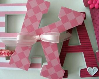 Nursery Letters - Pink Girl's Bedroom - Wooden Letters for Walls - Custom Letter Set