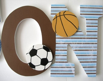 Wooden Letter Set - Sports Bedroom - Baby Boy Wood Letters for Nursery - Name Wall Art
