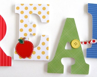 "Set of 4 Decorated 9"" Wooden Letters, Personalized Nursery Name Décor, Boy Bedroom, Hanging Wood Wall Decorations, Birthday Baby Shower Gift"