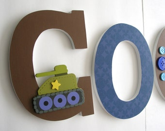 Wooden Letter Set - Military Theme - Camouflage Nursery Name - Baby Boy Wood Letters