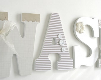 Wash Large Wooden Letters, Decoupaged Wooden Letters, Laundry Room Sign, Nursery Décor, Hanging Wood Wall, Custom Home Décor, Personalized