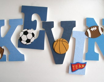 Custom Wooden Letters - Blue Theme - Personalized Nursery Name Décor - Baby Boy Bedroom