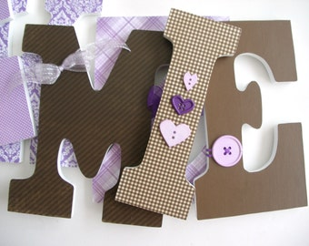 Hanging Wooden Nursery Letters - Purple and Brown - Custom Letter Set for Baby Girl
